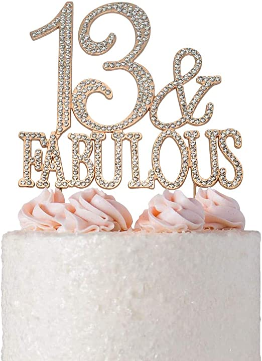 Remarkable Cake Toppers Home Garden Rose Gold 13 Cake Pick 13Th Birthday Funny Birthday Cards Online Alyptdamsfinfo