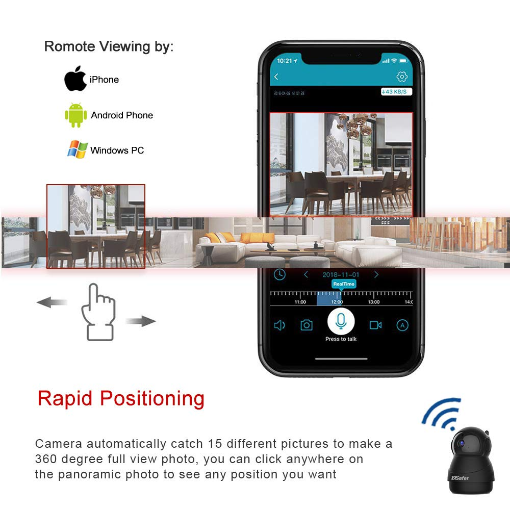 Pet Camera, WiFi Camera with 2 Way Audio, 2.4ghz 1080P HD Indoor WiFi IP Cameras for Home Security, Night Vision Wireless Camera with Motion Detection for Dogs Baby from DSafer, Black
