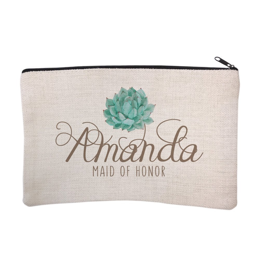Personalized Succulent Bridal Party Maid of Honor Cosmetic and Makeup Bag