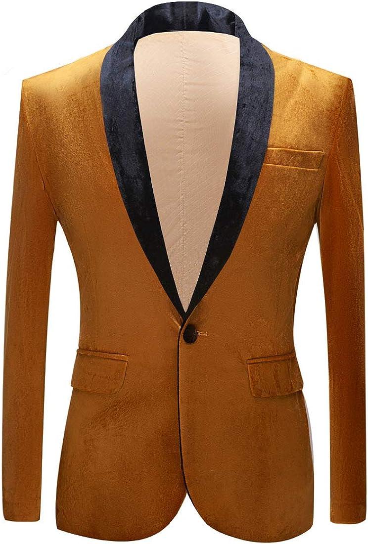 PYJTRL Mens Fashion Velvet Suit Jacket Slim Fit Blazers