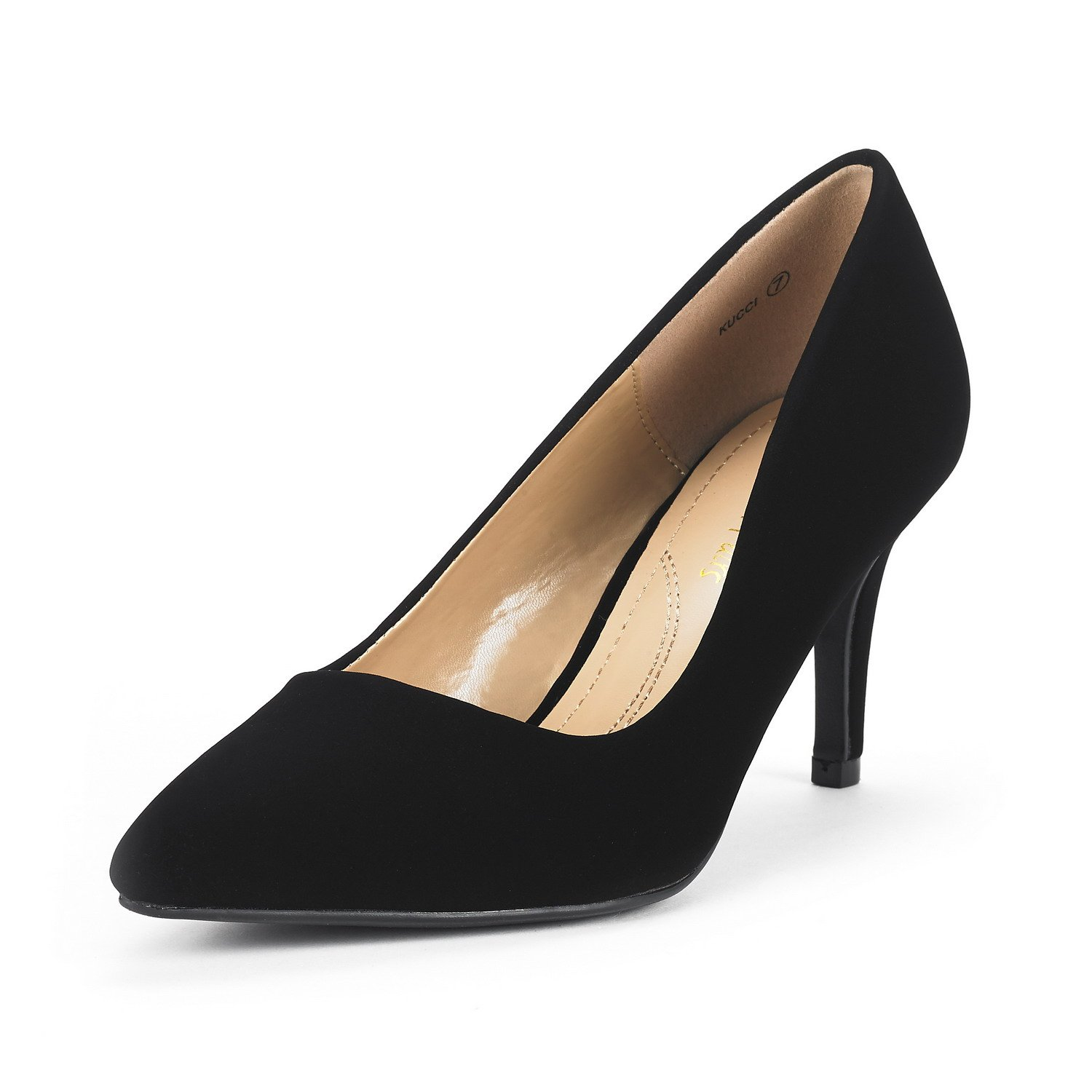 DREAM PAIRS Women's KUCCI Black Nubuck Classic Fashion Pointed Toe High Heel Dress Pumps Shoes Size 6 M US