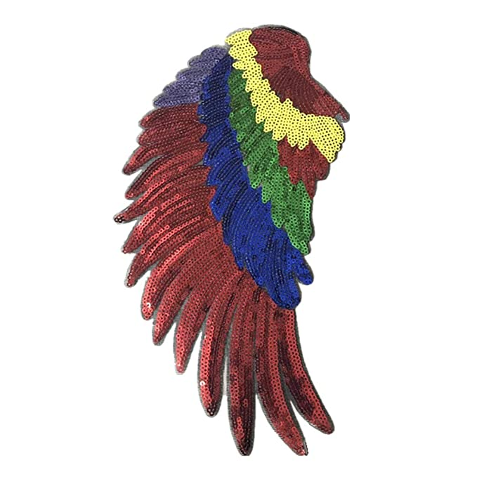 Color del Arco Iris Vosarea Wings Patch Clothes Patch de Costura Parches Bordados de Lentejuelas para Camiseta Jeans