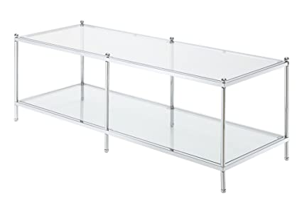Convenience Concepts Royal Crest Collection Coffee Table, Chrome/Glass
