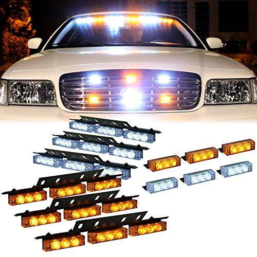 Emergency Truck Lighting - DT MOTOTM Amber White 54x LED Emergency Vehicle Deck Dash Grill Warning Lights - 1 set