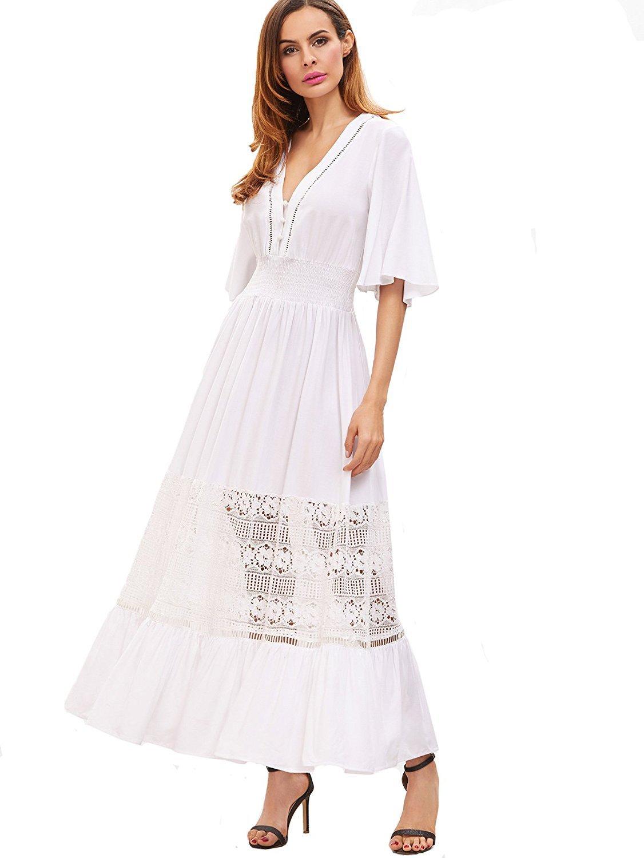 ef835ed0574 Galleon - Milumia Women's Bohemian Drawstring Waist Lace Splicing White  Long Maxi Dress (Small, White-1)