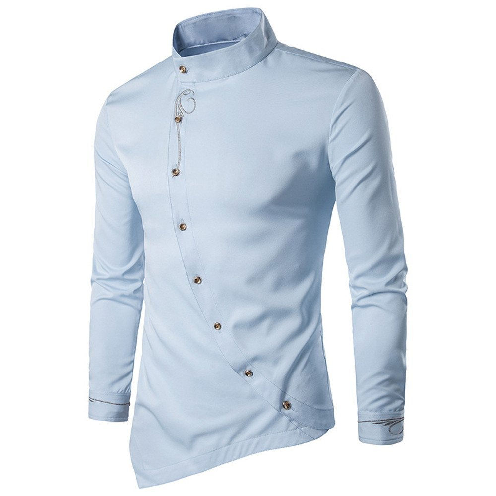 Shirts For Men,HOT SALE !! Farjing Mens Casual Irregular Silm Fit Embroidery Long Sleeve Shirt Tops Blouse (XL,Light blue)