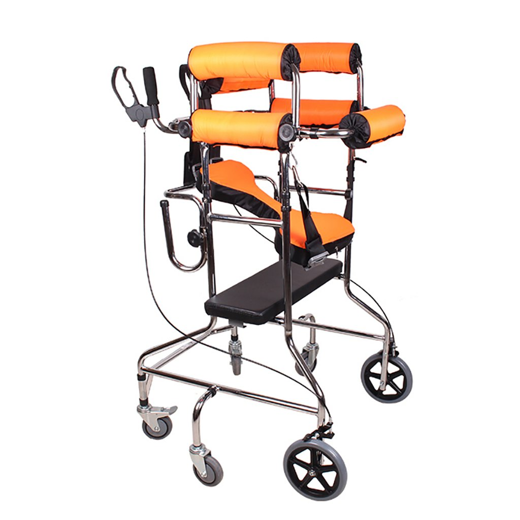 YXGH@ Standard Walkers Standing Walk Stand/Walker/Walk Aid/Stand Frame with Seat Wheel Rehabilitation Device Folding Height Adjustable Old Man Walker Lower Limb Walker Orange Six Wheel with Seat Pla by Walking aids
