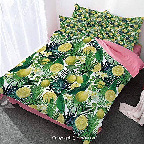 Homenon Nature Girl's Room Cover Set Full Size,Tropical Plants with Large Evergreen Leaf Lemon Botany Palm,Decorative 3 Piece Bedding Set with 2 Pillow Shams Yellow Forest Green