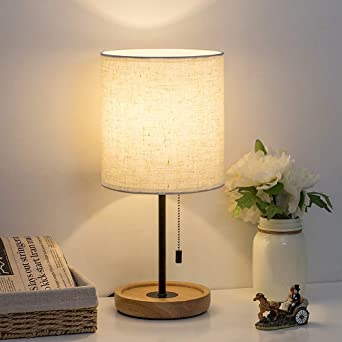 HAITRAL Bedside Table Lamp - Modern Nightstand Lamp with Linen Fabric Shade  Wooden Desk Lamps for Bedrooms, Office, College Dorm, Dinning Room, Girls  ...