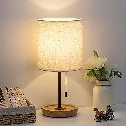 HAITRAL Bedside Table Lamp – Modern Nightstand Lamp with Linen Fabric Shade Wooden Desk Lamps for Bedrooms, Office, College Dorm, Dinning Room, Girls Room – 16 Inches HT-AD005