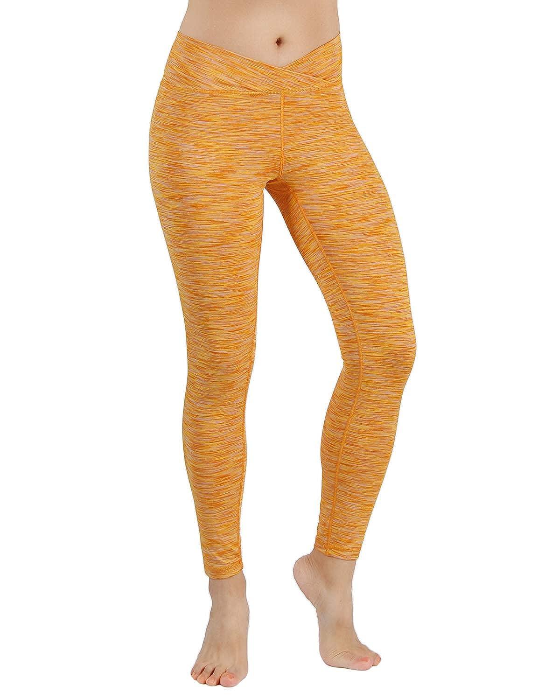 Yogapants707spacedyemustard Large ODODOS Power Flex Yoga Capris Pants Tummy Control Workout Running 4 Way Stretch Yoga