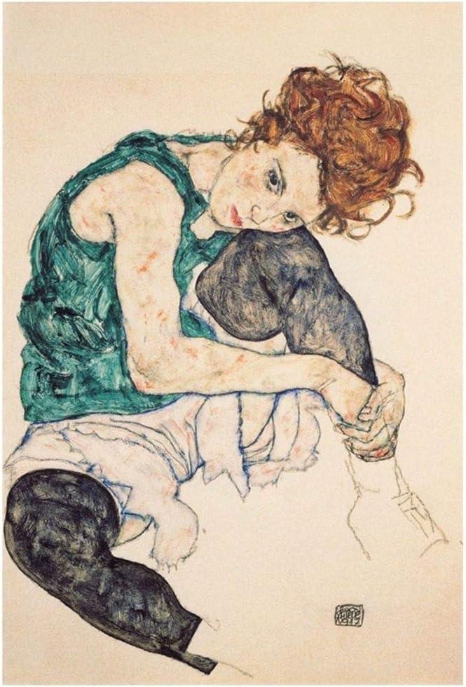 Cuadro Lienzo, Impresión Digital - Mujer Sentada con La Pierna Izquierda Levantada Egon Schiele, cm. 80x120 - Decoración Pared