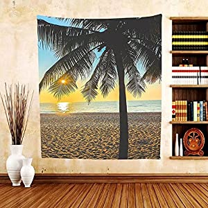 Gzhihine Custom tapestry Palm Tree Decor Tapestry Horizon Background on Sandy Beach with Dunes Summer Holiday Calm Picture for Bedroom Living Room Dorm Blue Yellow
