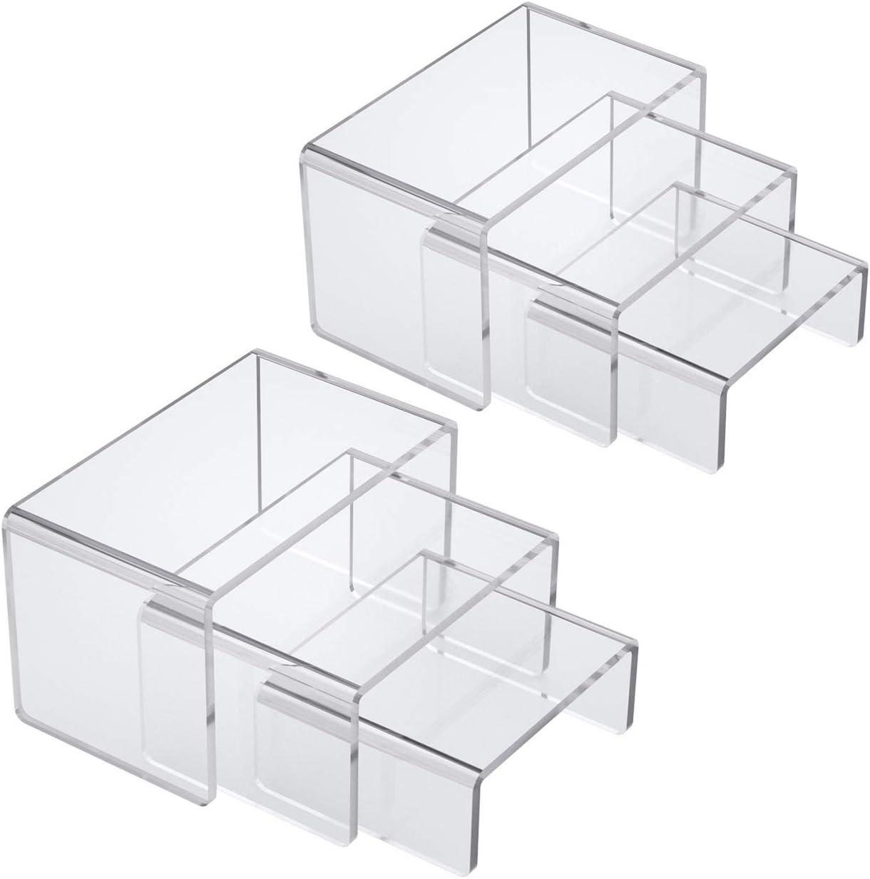 "NIUBEE Acrylic Display Risers Stand 2 Sets,3 Steps Clear Riser Shelf Showcase for Amiibo Funko POP Figures -3""x3""x4"""