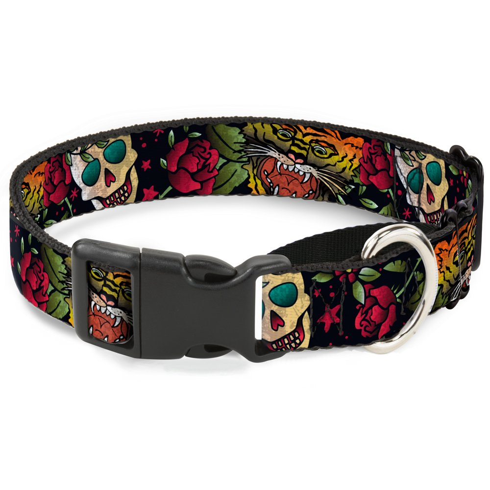 Buckle-Down Death Before Dishonor C U Black  Martingale Dog Collar, 1  x 11-17  Medium