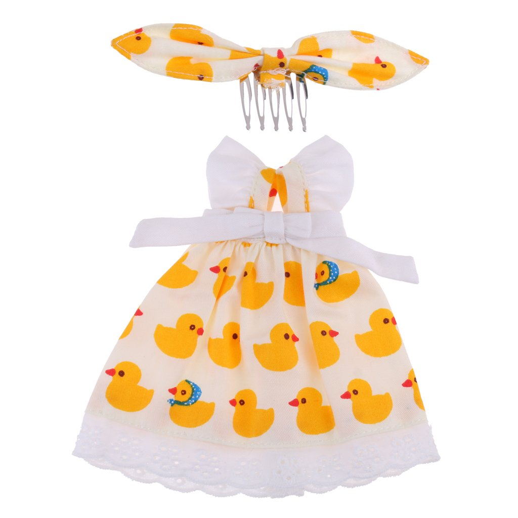"""MagiDeal Fashion Cartoon Duck Printed Dress Skirt Headband Suit Party Outfit for 12"""" Blythe Momoko Azone Dolls Clothing Accessories non-brand"""