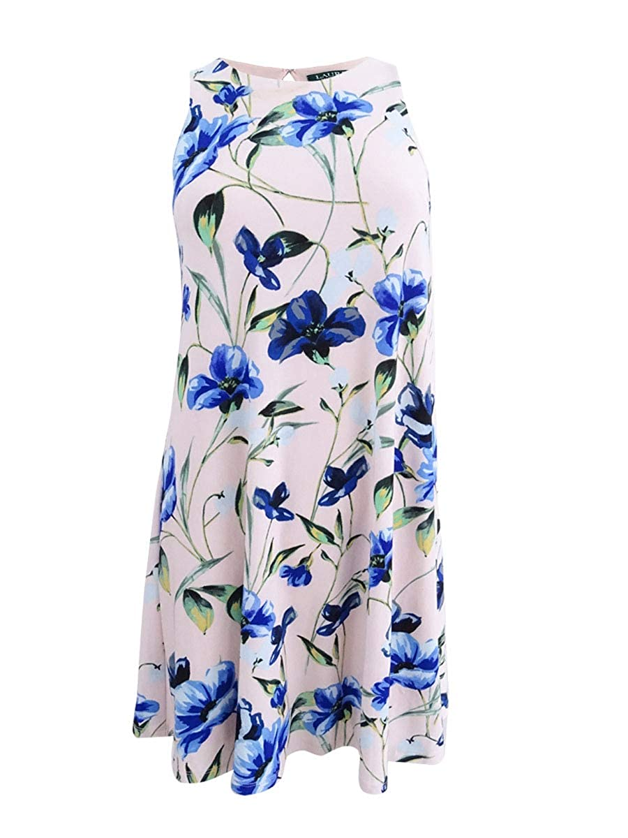 bluesh bluee Multi Lauren Ralph Lauren Womens Petites Sleeveless Floral Print Party Dress