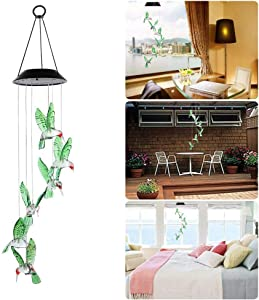 Solar Hummingbird Wind Chimes, Solar Powered 6 Changing Color Led Mobile Hanging Waterproof Hummingbird Wind Chimes Light for Outdoor Indoor Home Party Patio Night Yard Porch Garden Decoration