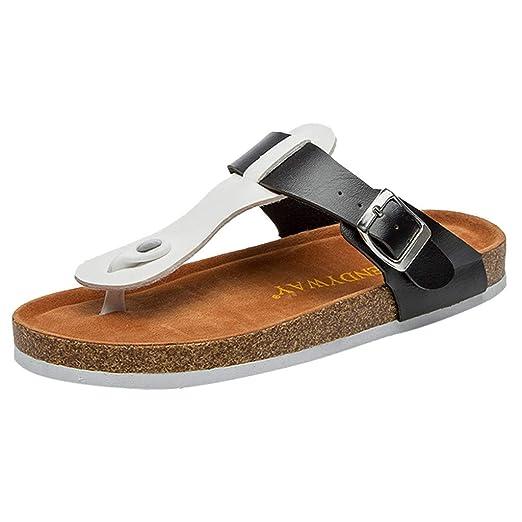 92fa7068a8ca24 TIFENNY Fashion Beach Slipper for Womens Fashion flip-Flops Cross Toe Strap Flat  Sandals Shoe