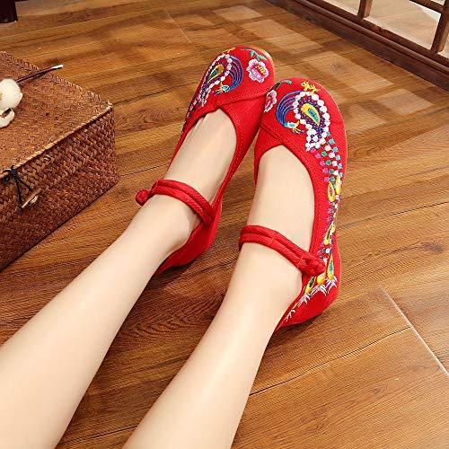 Rosso Moda Con Zeppa Donna Ragazza Nuova Jane Mary Scarpe Dazisen Ricamo Vintage ZwH6XaPq