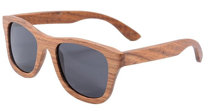 SHINU Polarizadas Gafas de Madera de Bambú Gafas de Sol Lentes de Madera Vintage y Espejos de Anteojos Gafas de Sol de los Hombres Gafas de Sol-Z6016 ...
