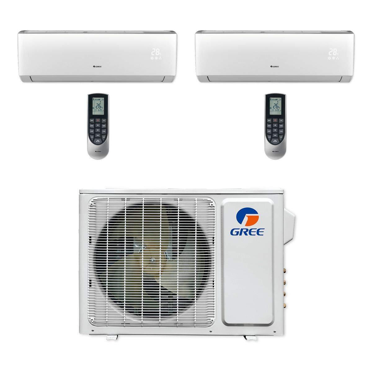 Gree MULTI18CLIV200-18,000 BTU Multi21+ Dual-Zone Wall Mount Mini Split Air Conditioner Heat Pump 208-230V (9-9)