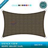 Ifenceview 14'x24' Rectangle UV Sun Shade Sail for Patio Yard Driveway Canopy Awning Outdoor facility (Brown)