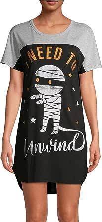 Halloween Mummy I Need to Unwind Black Nightgown Long Sleepshirt