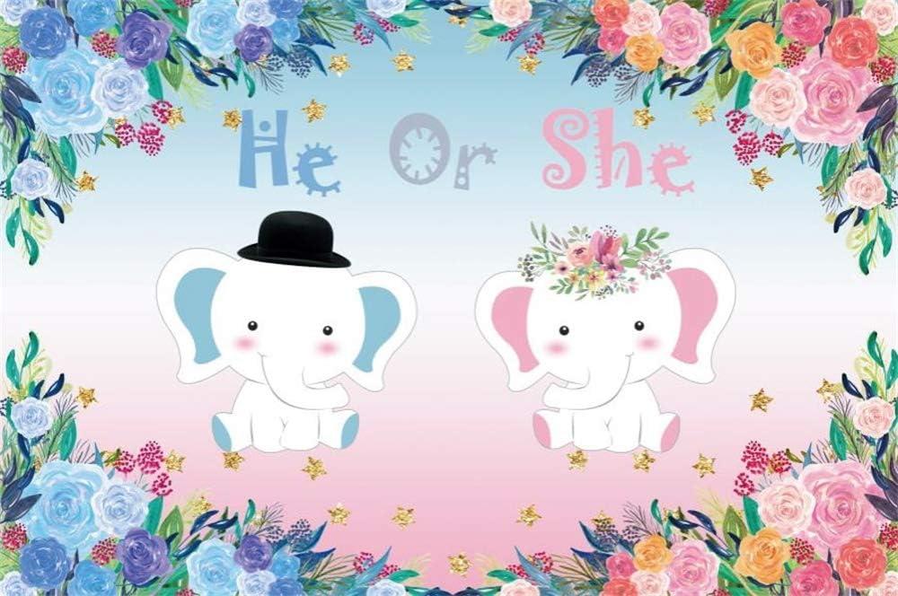 AOFOTO 6x6ft Smiling Little Elephant Baby Shower Photo Backdrop Vinyl Cloth Light Blue White Dots Wallpaper Boy Prince Gender Reveal Photo Booth Background Video Drape Photography Studio Props