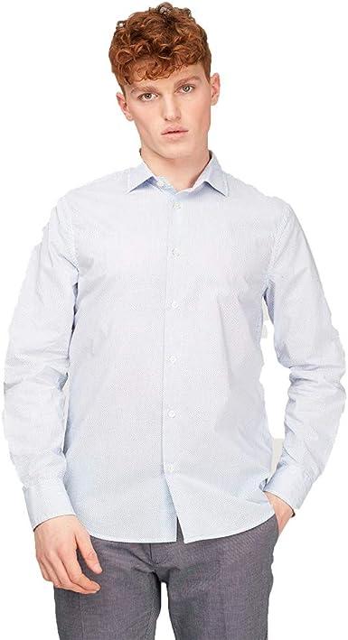 Gas Sir DET 151236062519 - Camisa Hombre, Color Blanco y Azul Blanco/Azul L: Amazon.es: Ropa y accesorios