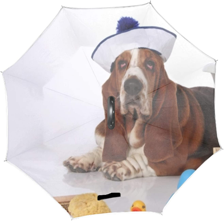 Basset Hound Inverted Umbrella Cars Reverse Open Umbrellas with C-Shaped Handle Ideal Gift Men /& Women