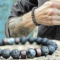 Mumiumius Hombres Mujeres Lava Rock Stone Beaded Stretch Pulseras Yoga Curación Terapia Pulsera Pulseras
