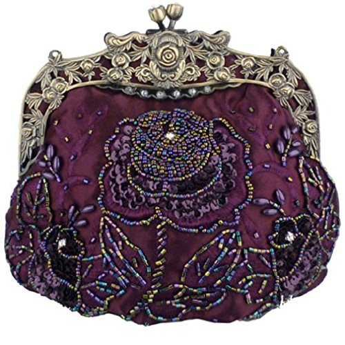 (Belsen Women's Vintage Beaded Sequin Flower Evening Handbags)
