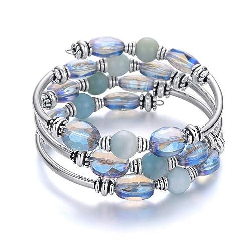 Hiyong Women Wrap Crystal Beaded Bracelet - Layered Boho Natural Stone Bangle Bracelets for Women (Amazonite)