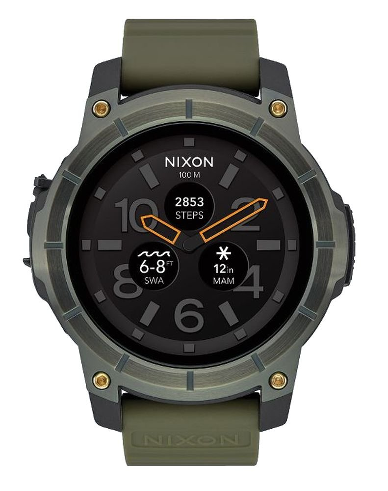 Nixon Mission Waterproof Smartwatch Metallic Surplus Green Color - Surfing,kitesurfing,windsurfing,fishing, sailing