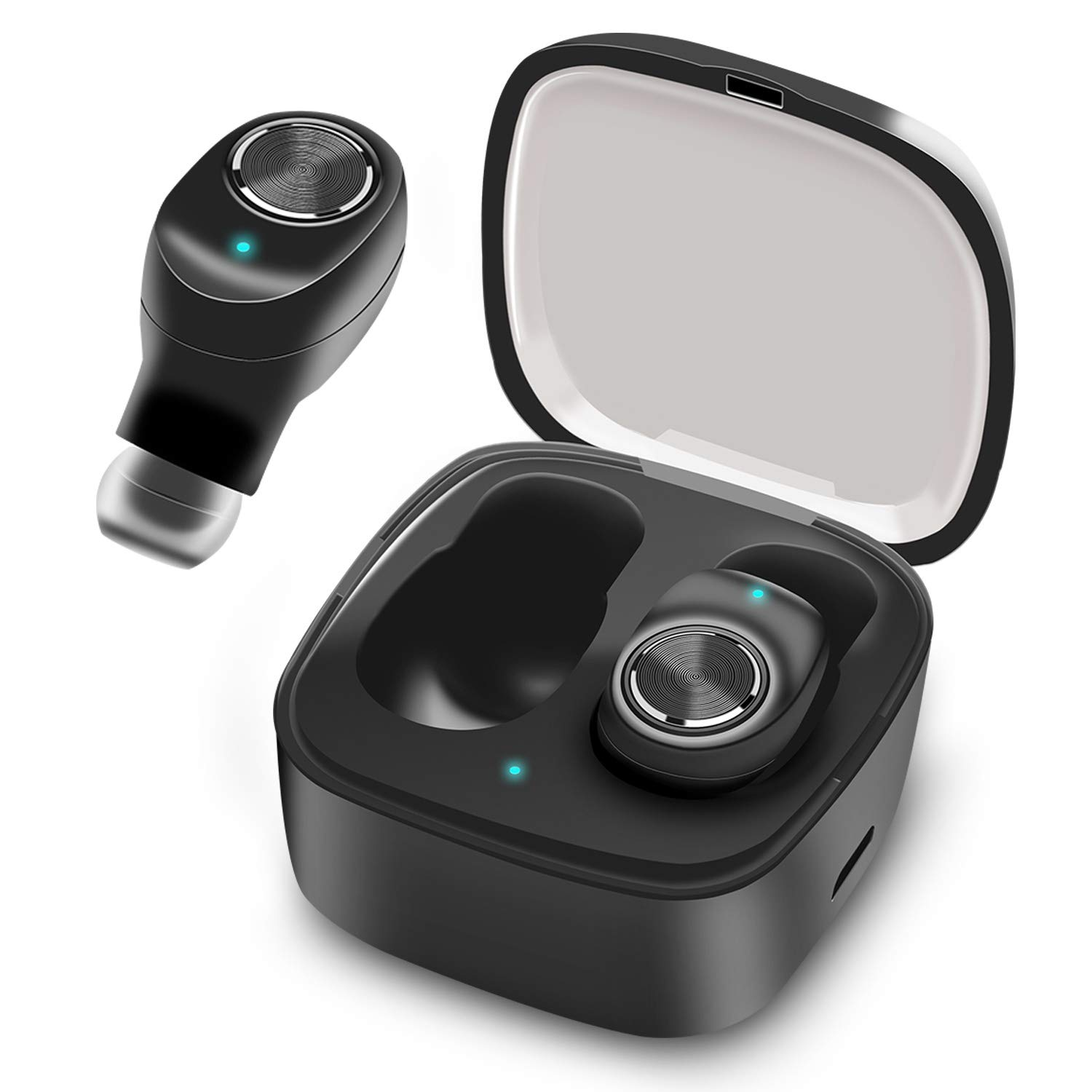 Bluetooth True Wireless Earbuds, Noise Cancelling Bluetooth Headphones in-Ear True Wireless Earbuds 10H Playtime Deep Bass Built in Microphone, with Portable Charging Case Sweatproof While Sports