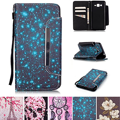 Galaxy Grand Prime G530 Case, Kickstand Card Slots Cash Holder Dual Layer Impact Resistant Case with Wrist Strap Magnetic Closure for Samsung Galaxy Grand Prime G530 G530H G5308- Starry