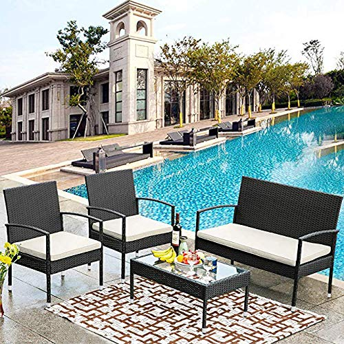 Merax 4 PCS Outdoor Garden Rattan Patio Furniture Set Beige Cushioned Seat Wicker Sofa Set