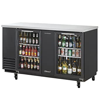 Turbo Air TBB 3SG Refrigerated Back Bar And Counter Top, Glass Doors