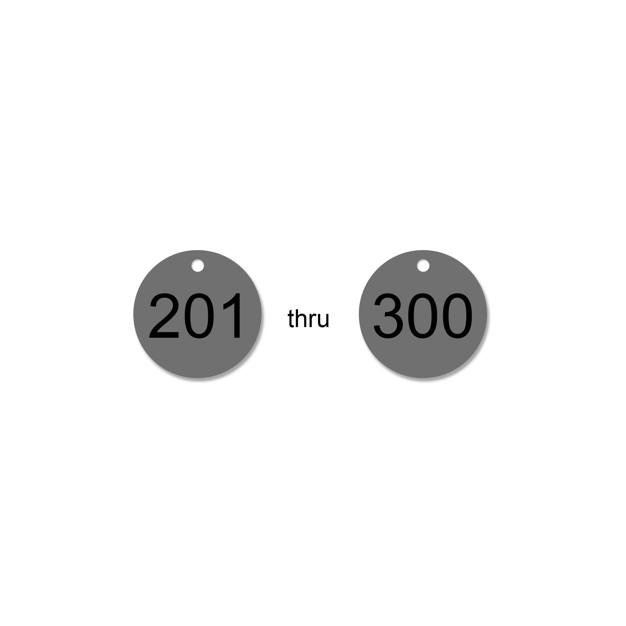 1 inch Silver .020 Aluma-Tough Tags - Pack/100 (Silver 201-300)