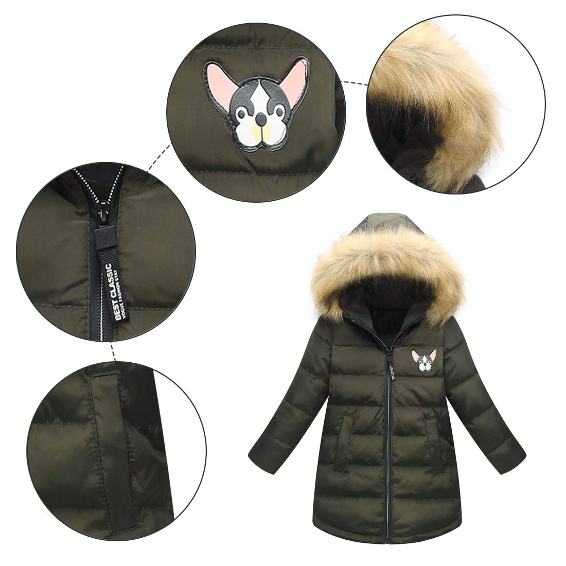 Happy Cherry Girls Winter Parka Down Coat Chihuahua Printed Puffer Overcoat with Fur Hood