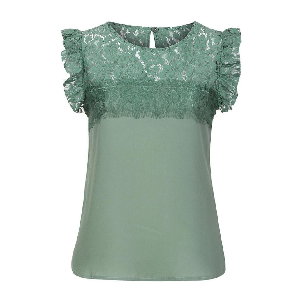 Longra❤Las mujeres de verano sin mangas de gasa de encaje chaleco blusa Tank Tops ropa camiseta blusas de mujer elegantes de fiesta: Amazon.es: ...