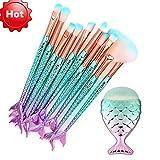 Becoler 11PCS Mermaid Makeup Brush Set Foundation Eyebrow Eyeliner Blush Cosmetic Concealer Brushes