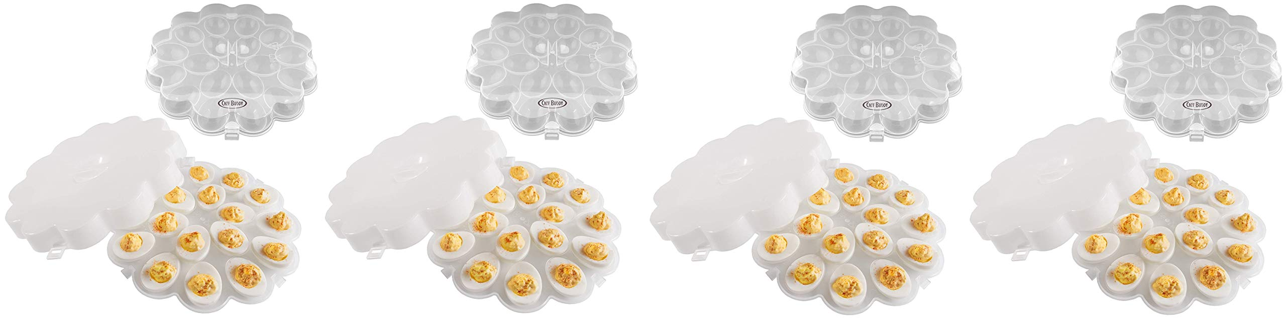 Chef Buddy 82-Y3458 Deviled Egg Trays with Snap On Lids, Set of 2 (Fоur Paсk)
