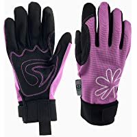 GREENLINE - Breathable Synthetic Leather Garden Gloves Gardening Gloves Working Gloves (Light Purple/Black)