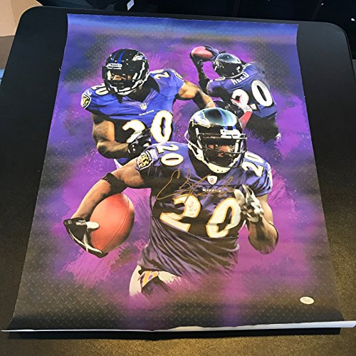Beautiful Ed Reed Signed Autographed 24x34 Canvas Photo JSA Baltimore Ravens Beautiful Autographed Photo
