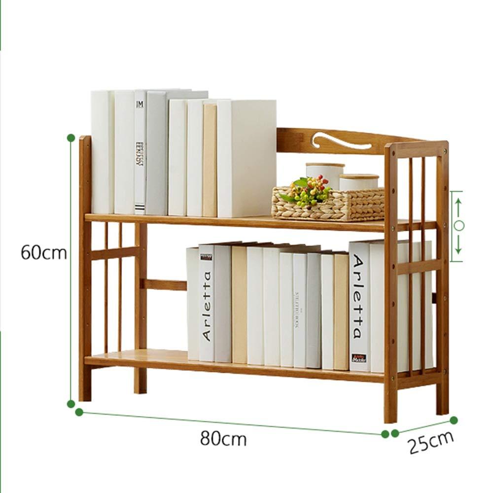 YNN 木製スラットラック茶色フリースタンドシェルフ2段書棚収納オーガナイザーユニット (Size : 80cm) B07SDNJMNW  80cm