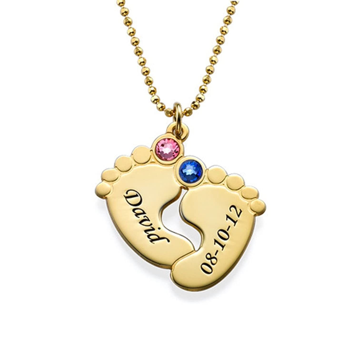 Mother Jewelry - Personalized Engraved Baby Feet Pendant with Birthstones - Custom Made Necklace with Any Name