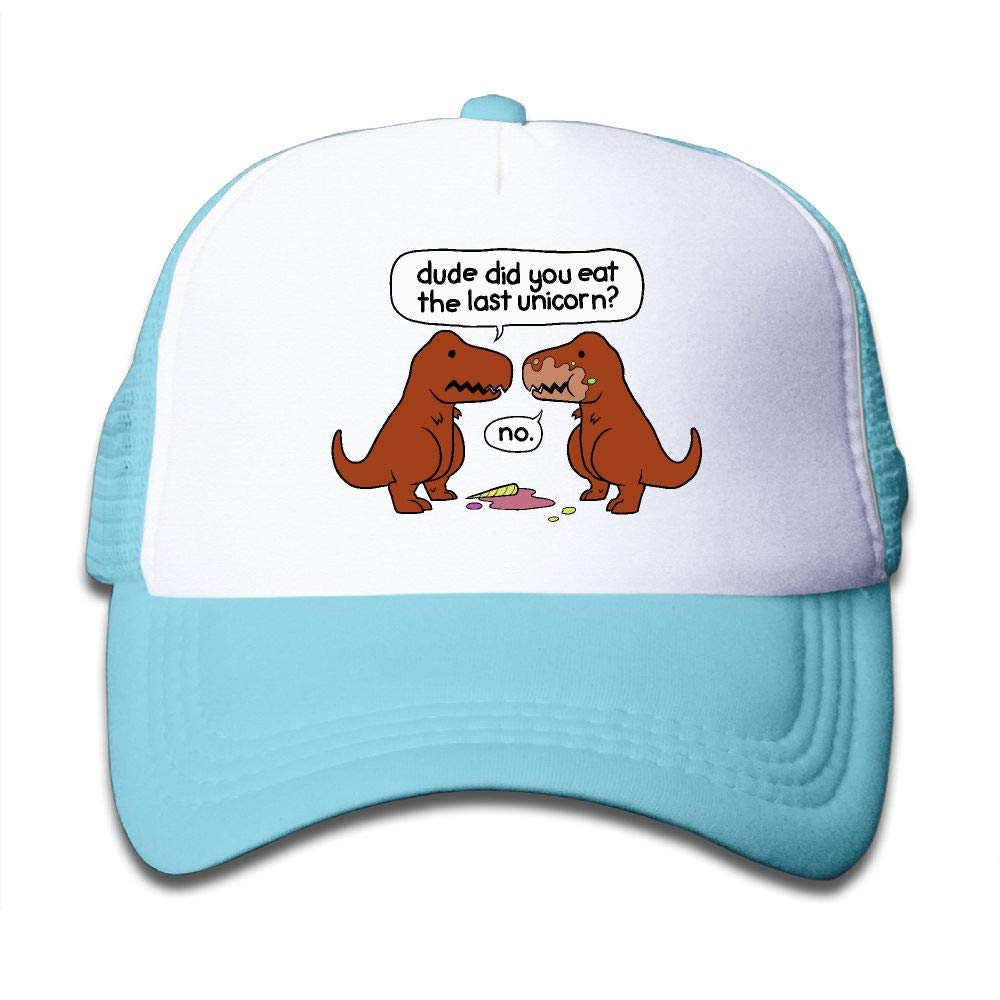 Kid's Boys Girls Funny Dinosaur Dude Did You Eat The Last Unicorn Youth Mesh Baseball Cap Summer Adjustable Trucker Hat