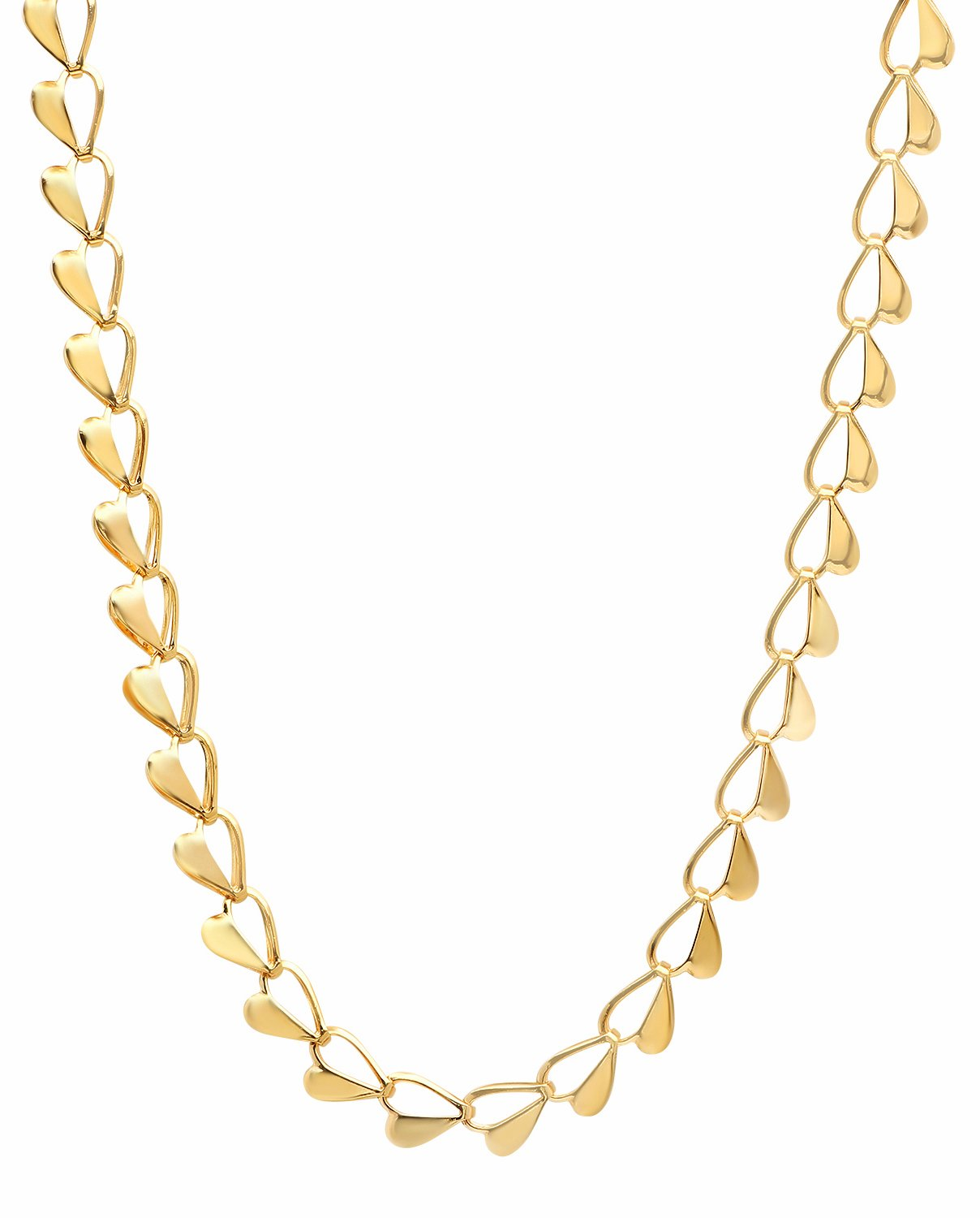 The Bling Factory 6mm 25 Mills 24kt Gold Plated Heart Link Chain Necklace, 16 inches